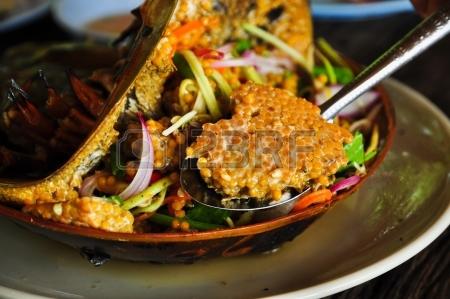 Thai food King crabs. 20036817-horseshoe-crab-eggs-spicy-salad