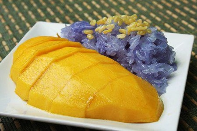 Mango Sticky rice Thai Food Flowers in Thai Cooking