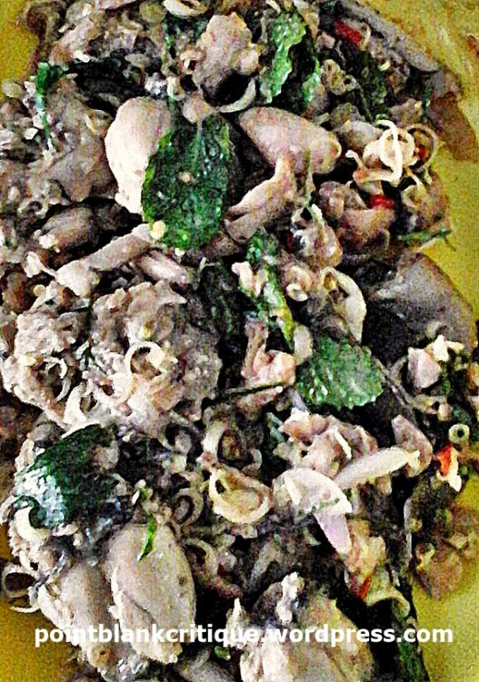 Thai Food Frogs Yum Kob dish