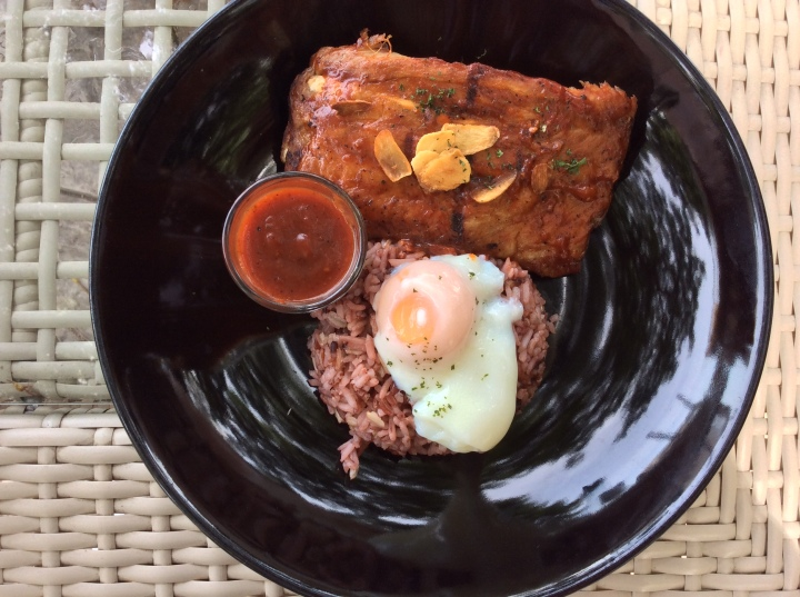 Grilled BBQ Pork Spare Ribs with Rice and Slow Cooked Egg