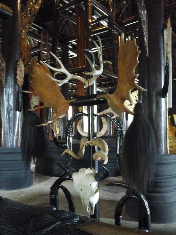 Another view of the horned chairs with skull at Baan Daam