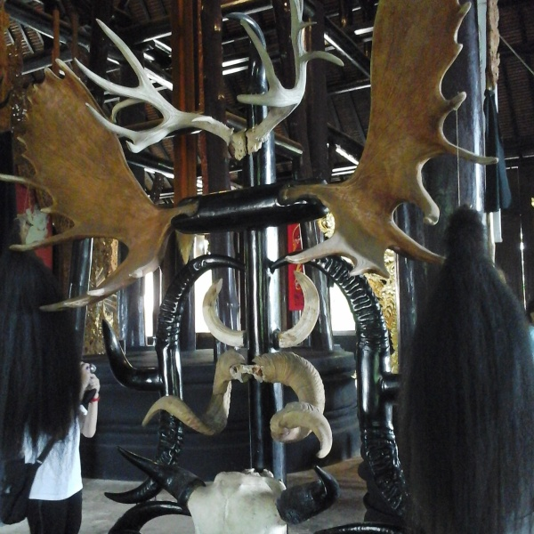 Huge wooden chairs made of antlers, horns, hair and skulls placed around a huge dining