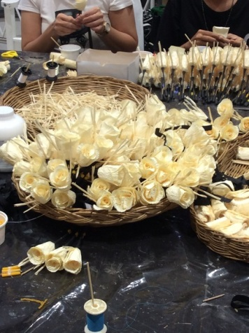 The traditional craftsmanship of making Sandalwood Flowers (Preparing for the Royal Cremation)