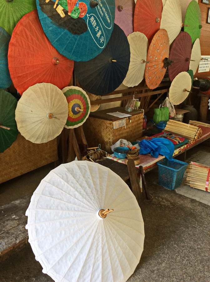 Chiang Mai Northern Thailand.  Umbrellas made for more than just the rain